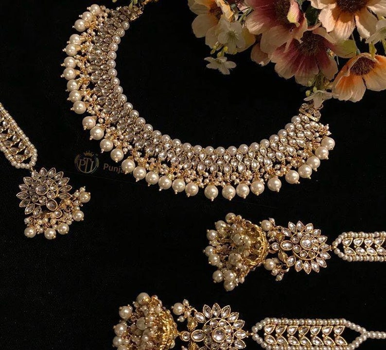 8120f2a3a3 Gold Finished Jewellery Kundan Jewelry Pearl Necklace Jhumki   Etsy