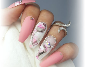 Marble Nails Etsy