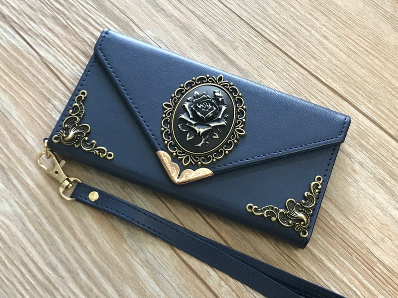 Rose Envelope Leather Wallet Handmade Phone Wallet Case Cover for iPhone 8 7 6 6s X Xs Xr 11 Pro Max Samsung Galaxy S8 S9 S10 Note 8 9 10 Plus Mn0663