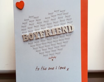 Boyfriend Birthday Card For Husband Wife Any Name Male Female Hand Finished Personalised