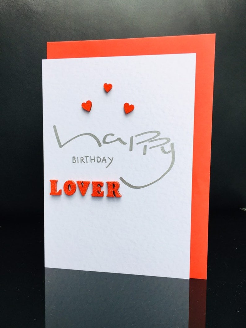 happy birthday lover card/birthday card for lover/large  card/fiance/husband/wife/girlfriend/boyfriend/male/female/wooden  hearts/wood letters