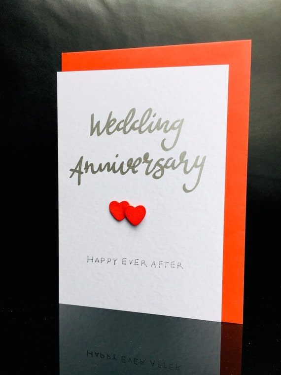 Large handfinished Special Anniversary cards with bow and heart