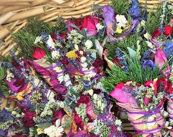 """60 3""""  Sage-Free (No Sage) Smudge Bouquets: Roses, Lavender, Cedar, Pine, Blooms, Herbs ~ Pure Botanical Herbal Incense Grown Just for You!"""