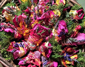 """10 4"""" Crystal Bound Sage-Free (No Sage) Smudge Bouquets: Roses, Lavender, Cedar, Pine, Blooms ~ Pure Botanical Herbal Incense Grown for You!"""