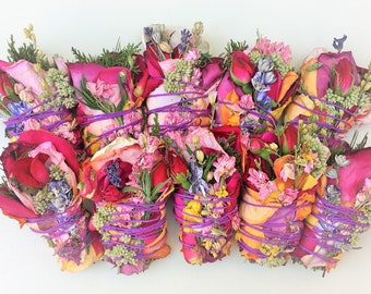 """15 4"""" Sage-Free (No Sage) Smudge Bouquets: Roses, Lavender, Cedar, Pine, Blooms ~ Purify Air w/ Pure Botanical Herbal Incense Grown for You!"""