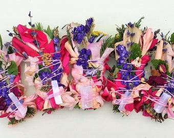 "10 3"" Crystal Bound Sage-Free (No Sage) Smudge Bouquets: Roses, Lavender, Cedar, Pine, Blooms, Herbs ~ Homegrown Botanical Herbal Incense!"