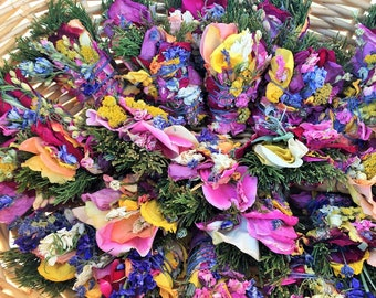 """15 3"""" Sage-Free (No Sage) Smudge Bouquets: Roses, Lavender, Cedar, Pine, Blooms, Herbs. Purify Air w/ Homegrown Botanical Herbal Incense!"""