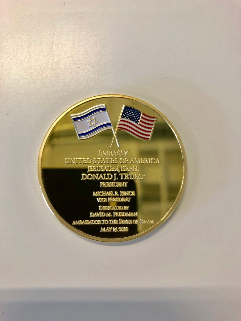 Jerusalem United States Embassy Trump Challenge Coin + FREE COIN CASE Date:  May 14 2018