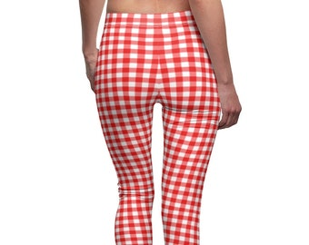 Toddler Pants with Elastic Ankle in Red Gingham size 3T