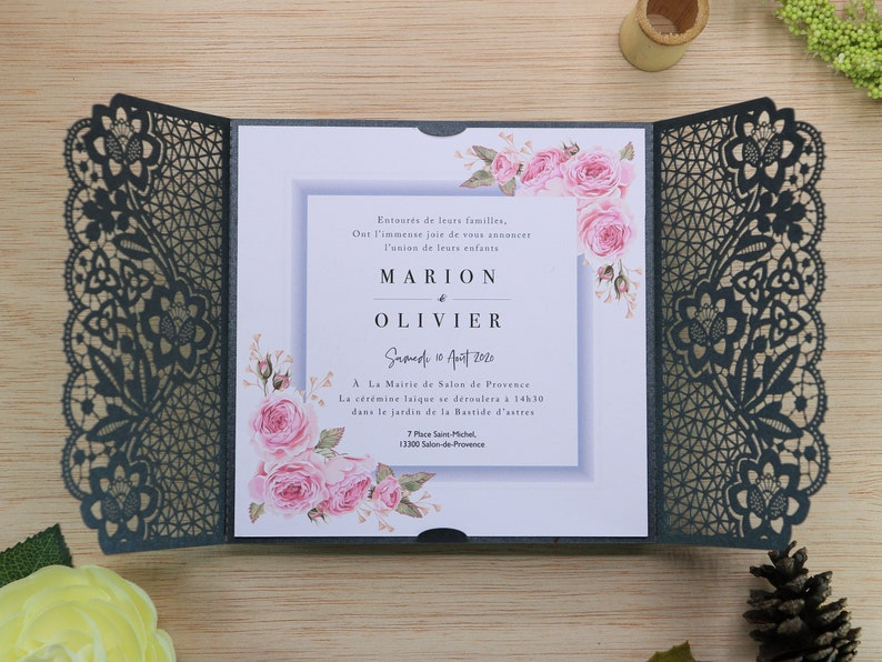 Laser Cut Wedding Invitations, Floral invitation, heart invitation, lace  wedding invitation Wedding Invites FPR-0052