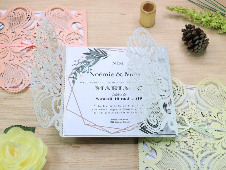 Laser Cut Wedding Invitations Floral Invitation Heart Invitation Lace Wedding Invitation Wedding Invites Fpr 0051a