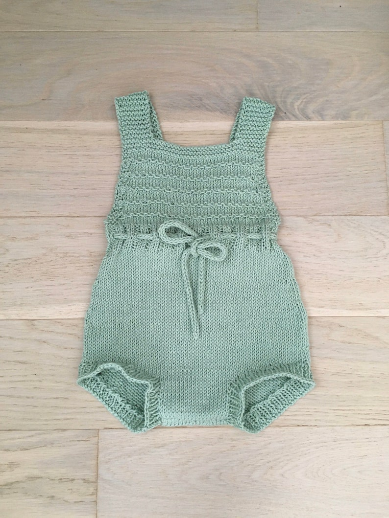 Soft cotton knitted baby dungarees Gender neutral playsuit Vintage inspired overalls Girl or Boy Romper Braced shorts