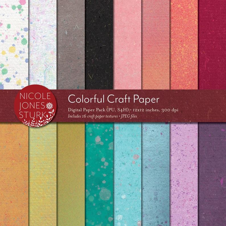 Colorful Craft Paper Textures / digital scrapbook paper set / image 0