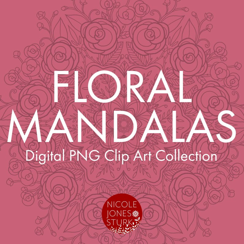 Floral Mandala digital clip art / PNG / adult coloring image 0