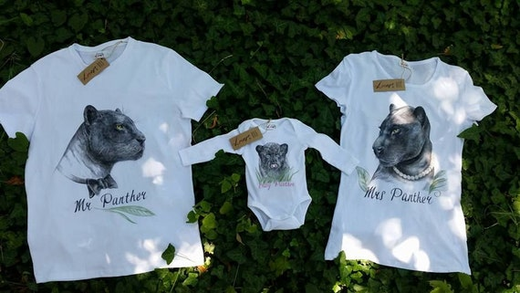 Hand Pianted Family Custom T Shirts Painted Pets Panther Etsy