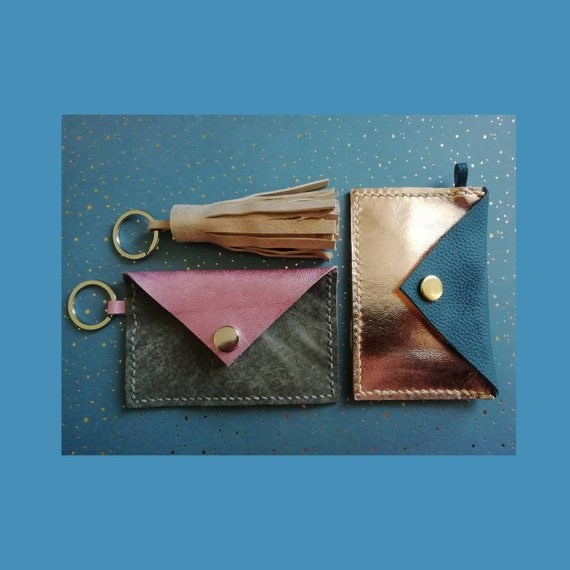 Hand Stitched Metallic Leather Coin or Card Purse Keyring | Leather Keyring Purse | Leather Coin Purse