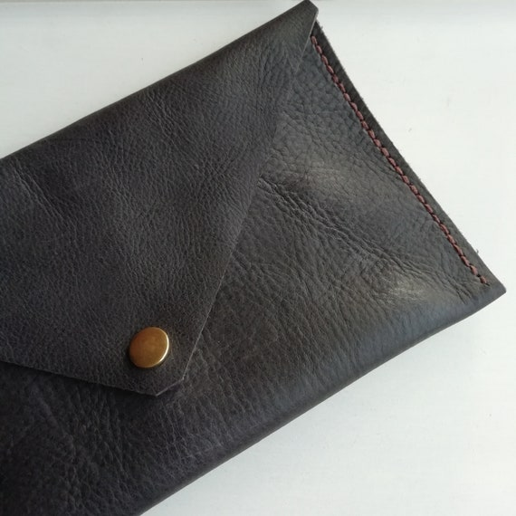 Hand Stitched Leather Clutch Bag Purse