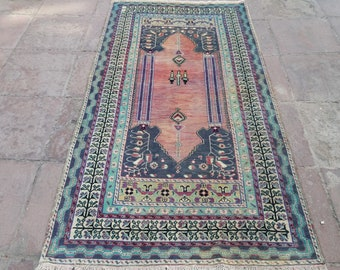 "3'4"" x 6'2"" Exclusive Tradational Rug, Vintage area rug, Turkish area rug, Wool rug, Boho decor, Handmade rug, Pink Blue rug,  103  x 189 cm"