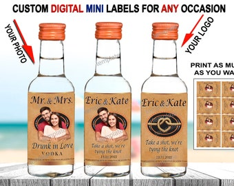 Take a shot we're tying the knot bottle labels for engagement, wedding. Party favors mini bottle labels 50ml Tito's bottle labels Printable