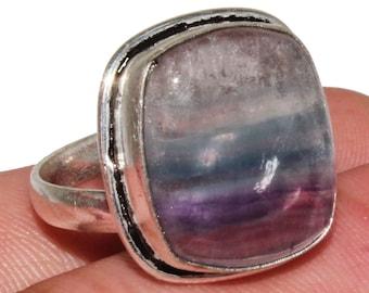 Oval Cab Purple Green Fluorite Gemstone Ring Natural Fluorite Gemstone Gift Ring 925 Sterling Silver Ring Jewelry Fluorite Ring