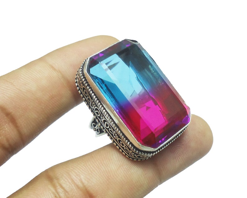 MK-07 Faceted Ametrine Quartz Ring Handmade Designer Vintage Style Ametrine Quartz Ring 925 Sterling Silver Plated Jewelry US Size 8