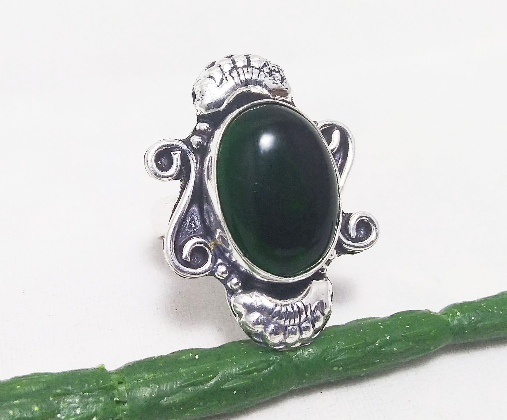 Green ite Sterling Silver Overlay Ring Size 8 US Handmade Jewelry Gift Jewelry