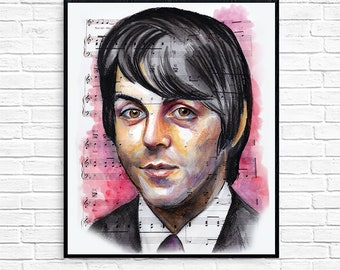 The Beatles Paul McCartney Art Print Gift For Fan Birthday Christmas Music Lover Him Wall Decor