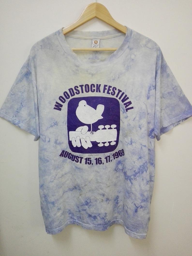 3ecf1d4e Vintage tie dye WOODSTOCK FESTIVAL 1969 crewneck shirt/size | Etsy