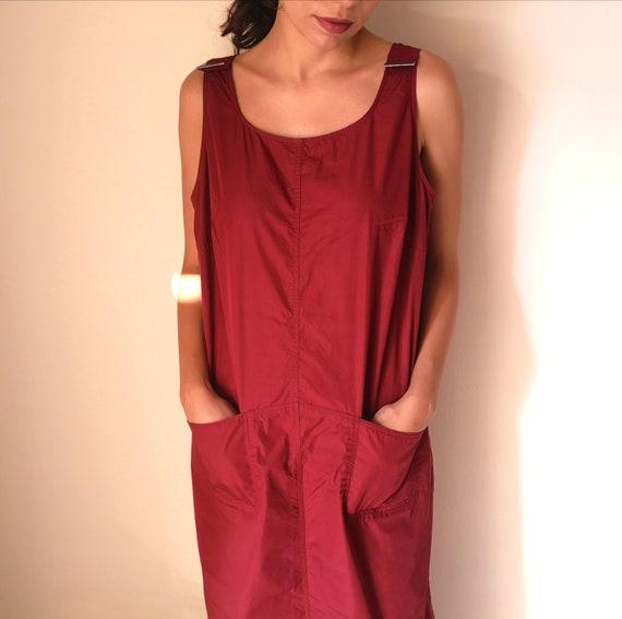 90s red overall dress/  maxi tank dress - sleevele