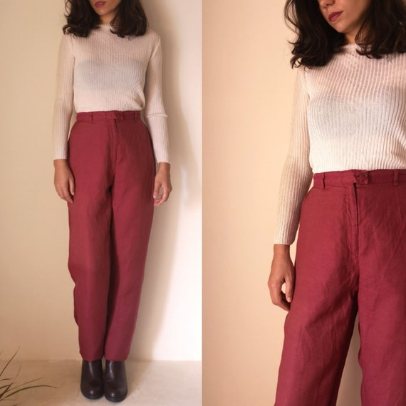 Wine Linen Pants | Vintage Tapered Trousers | Flax