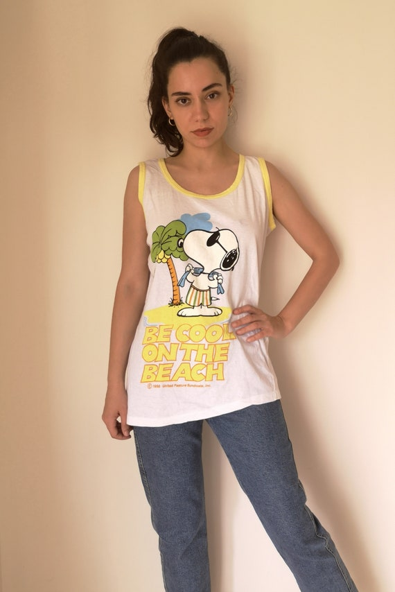 60s Snoopy T-shirt / Peanuts Vintage sleeveless co