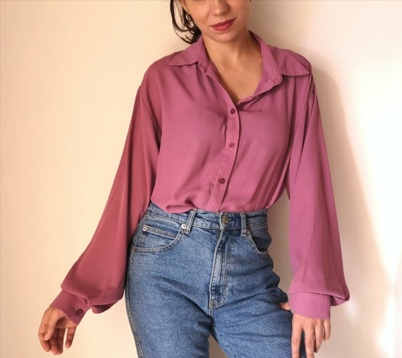 Vintage Blush bell Sleeve Blouse, puffy sleeves si