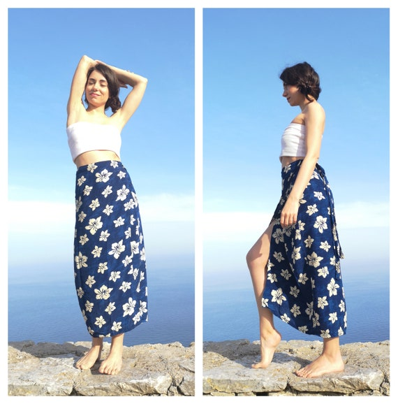 90s Floral Print Wrap Skirt Large 1990s