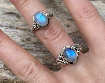 promise ring Natural rainbow moonstone ring gift for her anniversary ring 925 sterling silver ring vintage ring. handmade unique ring