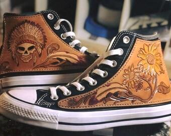 ce2f10e83446d3 Custom Tooled Leather Converse