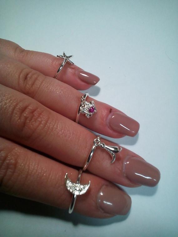 Hammered 925 silver phalanx ring