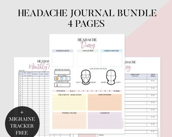 photograph about Migraine Diary Printable titled Migraine magazine Etsy
