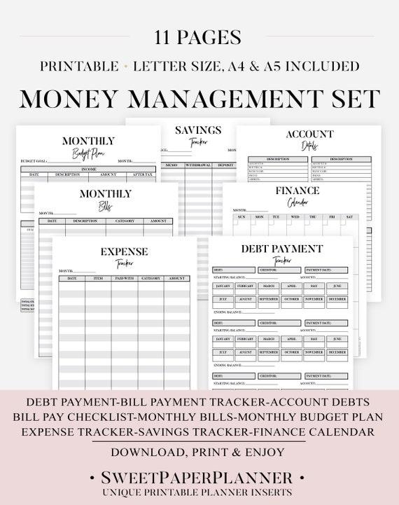Money Management Set Printable Budget Planner Financial Etsy