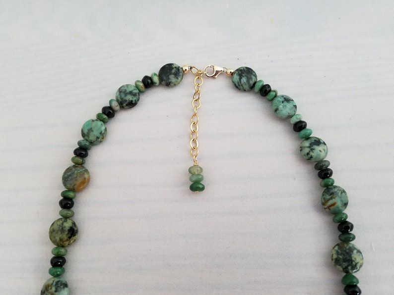 Womens Beaded Artisan Jewelry Mothers Day Gift Gold Filled Adjustable Necklace Gift for Her Green Agate Long Necklace
