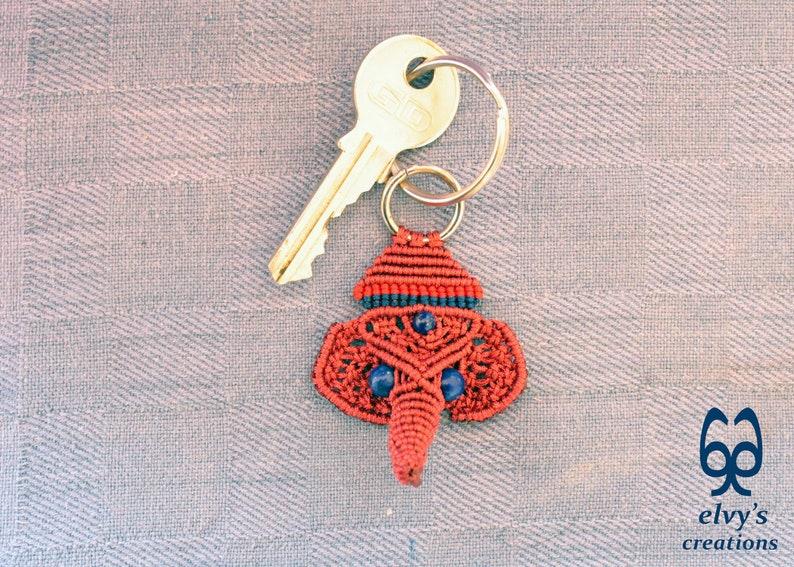 Housewarming Gift Elephant Key Chain Small Gift for Woman and Man Handmade Macrame Ganesha Key Chain