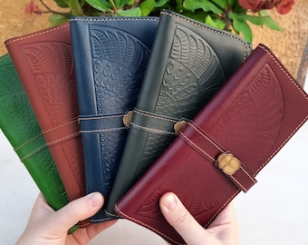 Winged ISIS Handmade Wallet For Women. Top Quality Genuine Leather Cow Hide Wallet. Big Wallet In Leather. Clutch For Women.Purse in Leather