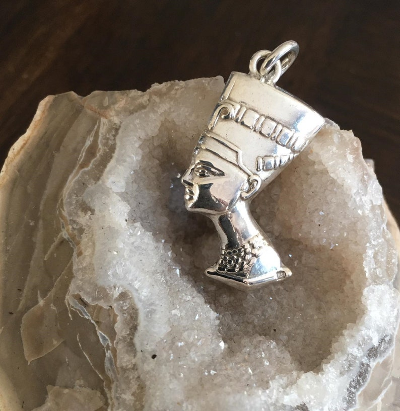 Pharaonic Collection Chain PendantsNecklace Queen Nefertiti Handmade Egyptian Sterling Silver Tiny Cross Ankh,Blue ScarabBeetle