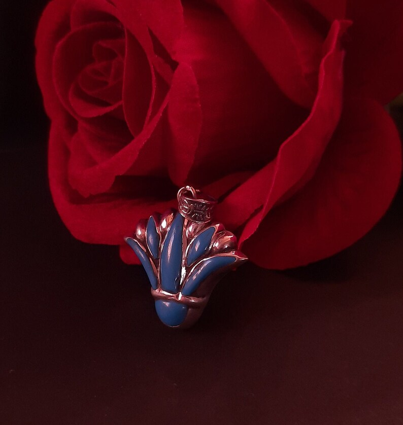 Handmade Sterling Silver Blue Lotus Ancient Egypt Sterling Silver Pendant ,Lotus Flower Pendant Lotus Necklace Egyptian Silver Turquoise