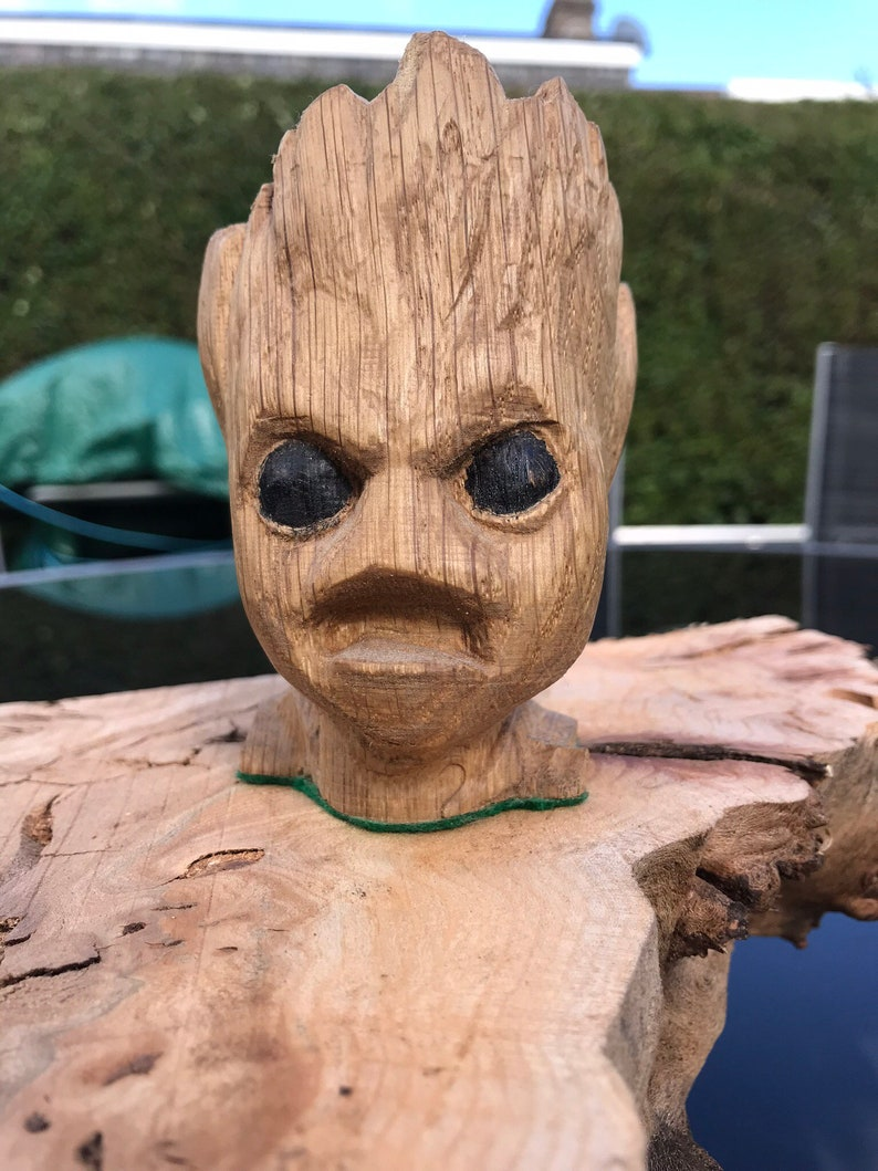 Carved Wooden Angry Baby Groot In Oak