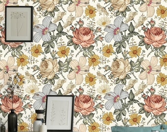 Removable Wallpaper | Peel and Stick Floral Wallpaper | Self Adhesive Rose Wallpaper | Vintage Wallpaper