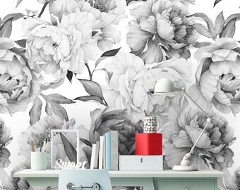 floral wallpaper nursery etsyremovable peel \u0027n stick wallpaper, self adhesive wall mural, watercolor floral pattern, nursery decor, custom color \u2022 peonies grey \u0027n white