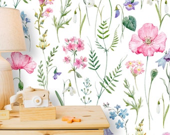 removable wallpaper floral etsyremovable peel \u0027n stick wallpaper, self adhesive wall mural, watercolor pink floral pattern, nursery room decor \u2022 retro watercolor flowers