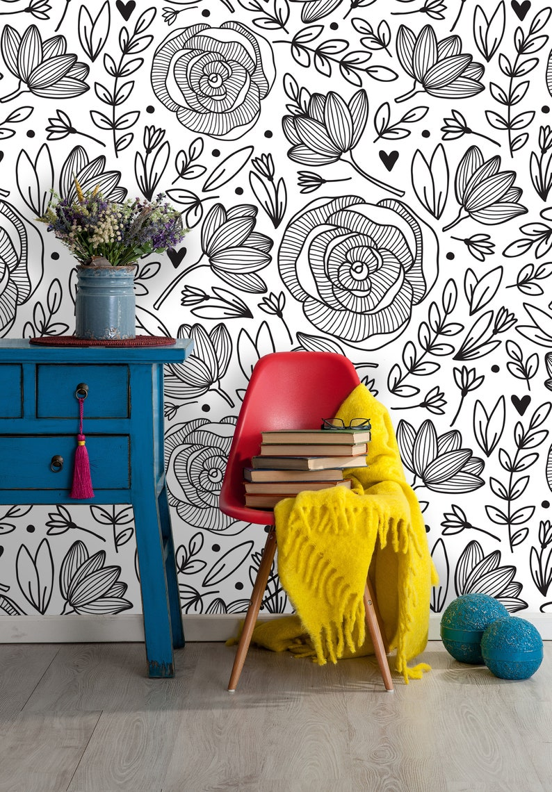 Removable Wallpaper Peony Peel And Stick Floral Pattern Etsy