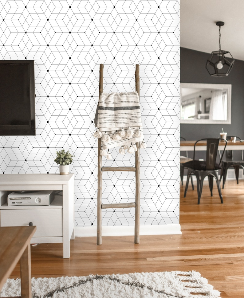 Removable Wallpaper Peel And Stick Geometric Wallpaper Etsy