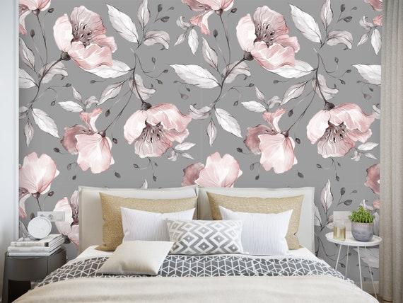 Watercolor Floral Pattern Removable Peel /'n Stick Wallpaper Self-Adhesive Wall Mural Nursery Baby\u2019s Room Decor \u2022 White Pink Roses